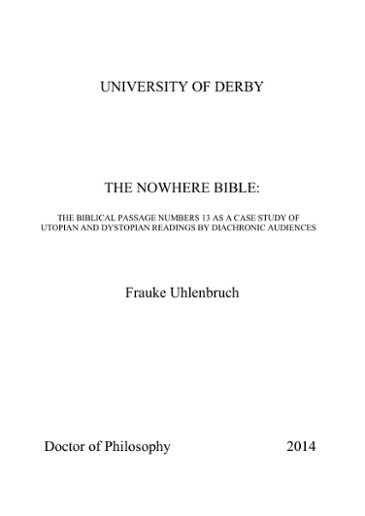 UNIVERSITY OF DERBY THE NOWHERE BIBLE: Frauke Uhlenbruch