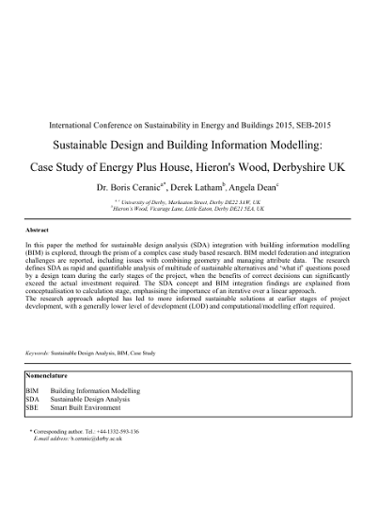 Sustainable design and building information modelling: case