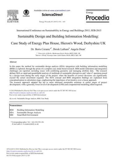 Sustainable Design and Building Information Modelling: Case Study of
