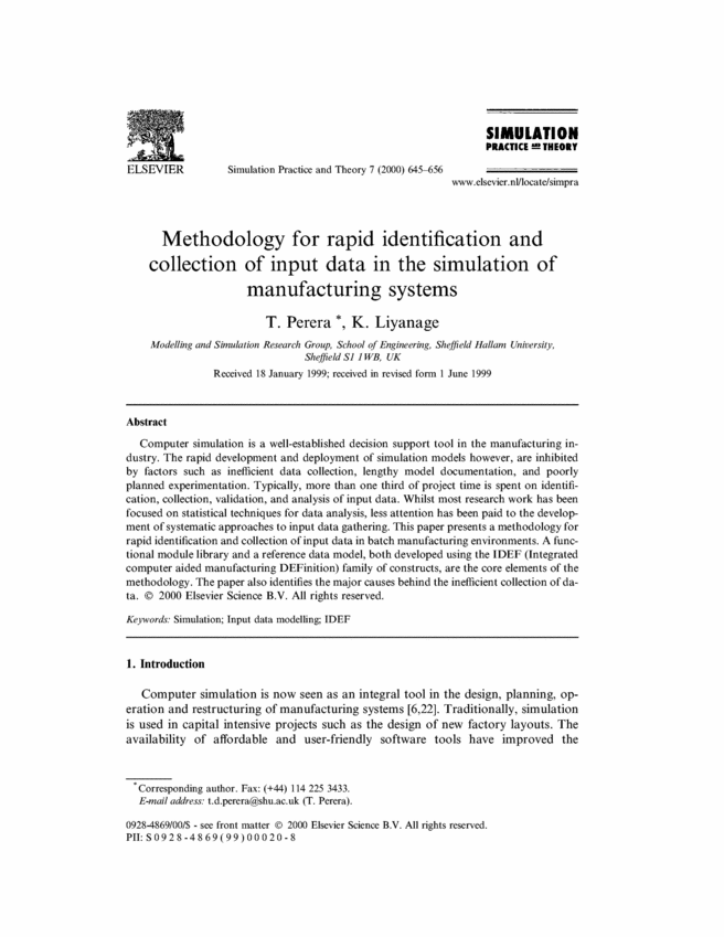 Methodology for rapid identification and collection of input data in