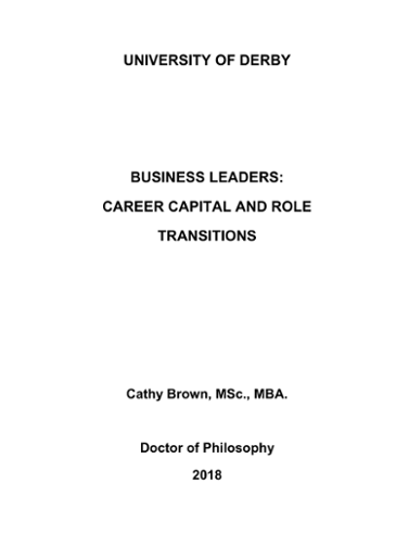 UNIVERSITY OF DERBY BUSINESS LEADERS: CAREER CAPITAL AND